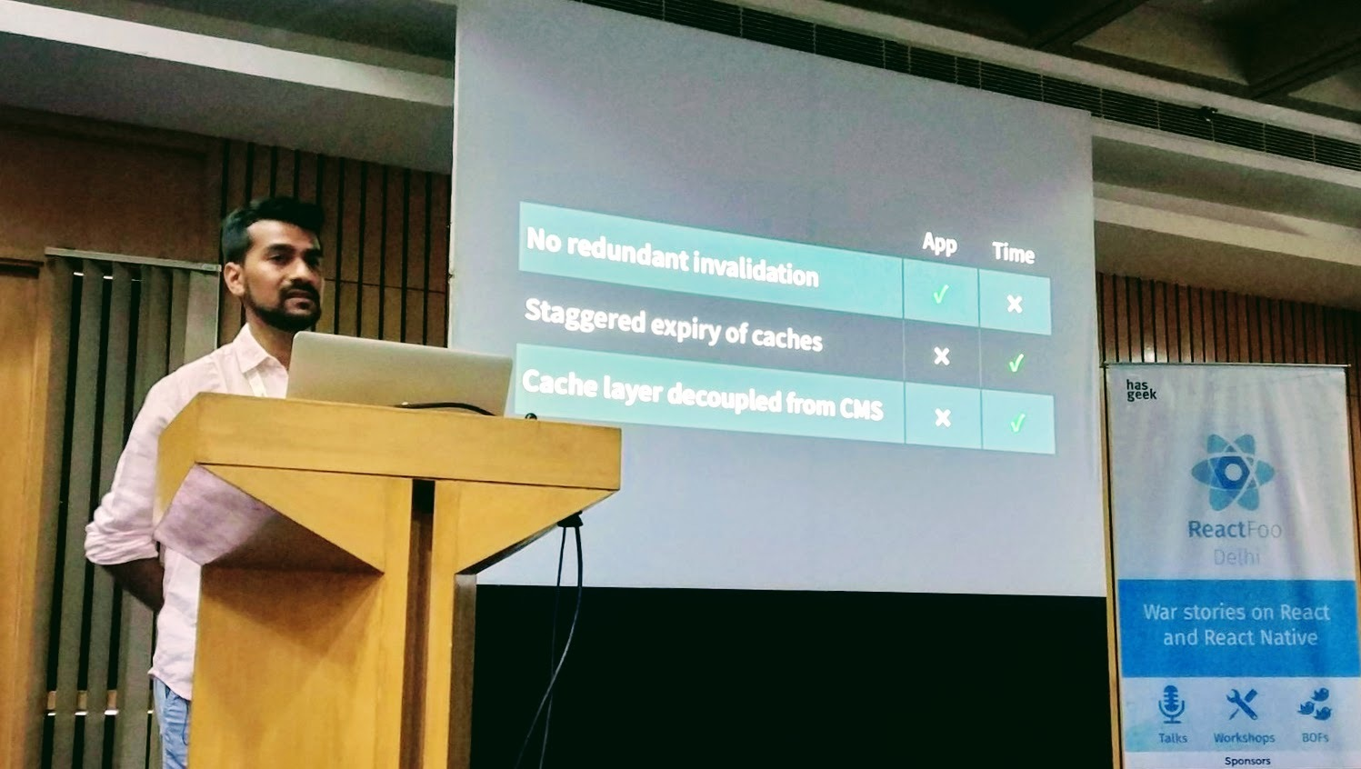 Prateek speaking at ReactFoo Delhi 2018