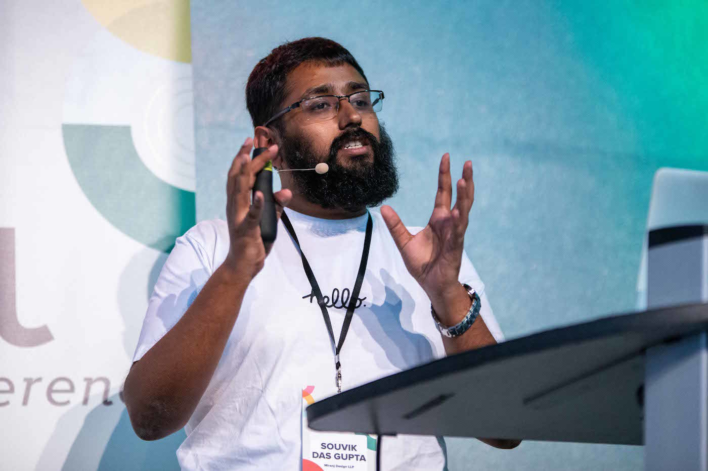 Souvik speaking at Dot All 2018, Berlin