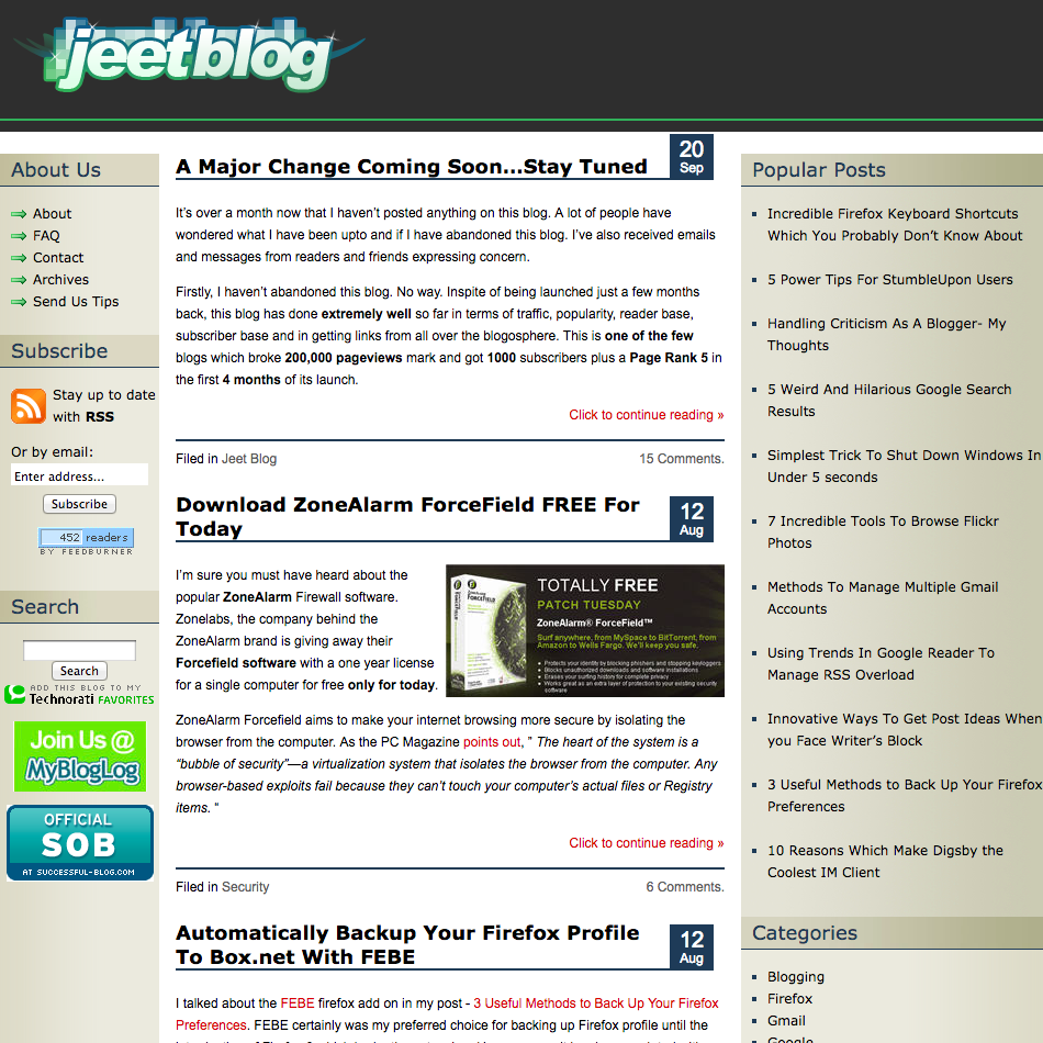 Jeet Blog home page in 2008