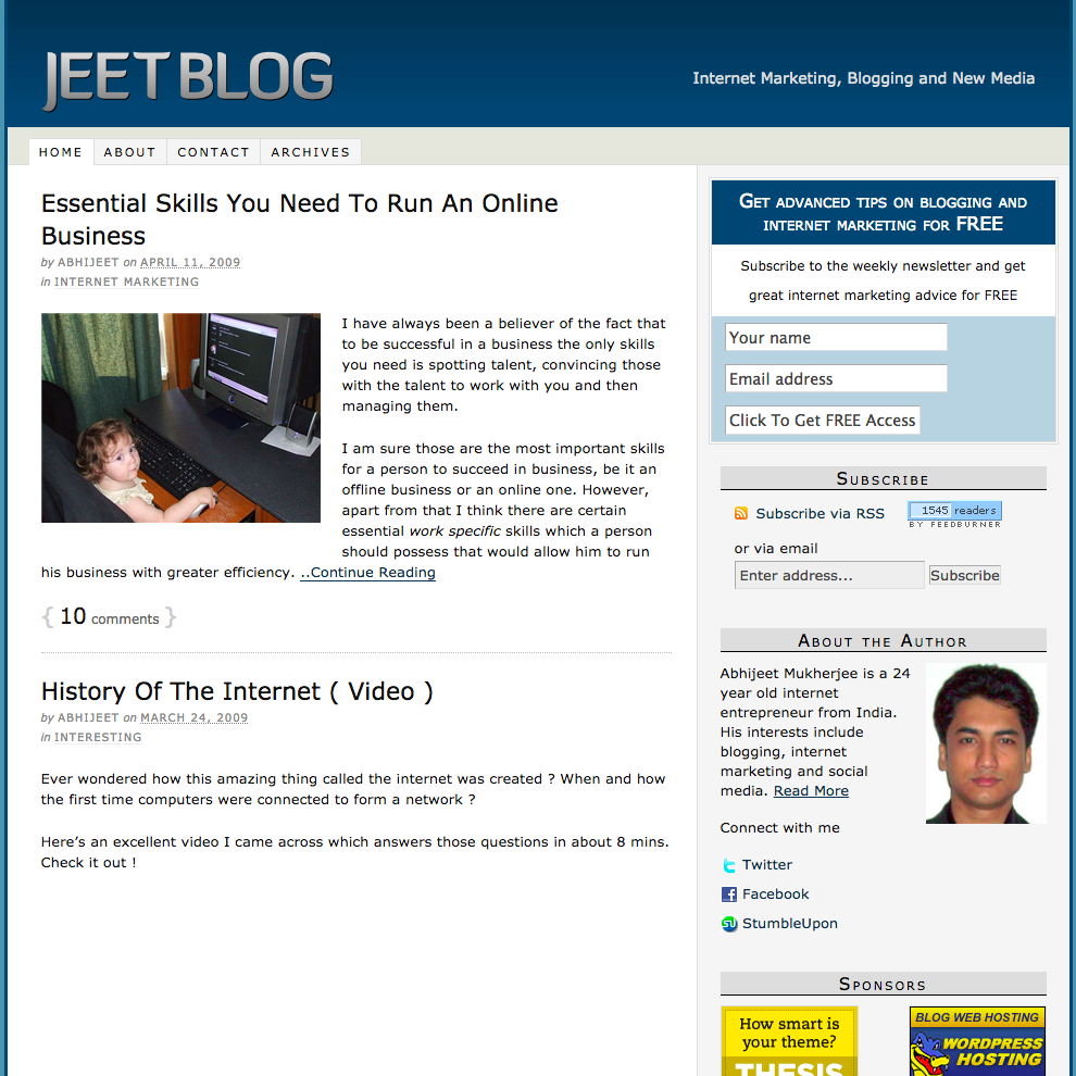 Jeet Blog home page in 2009