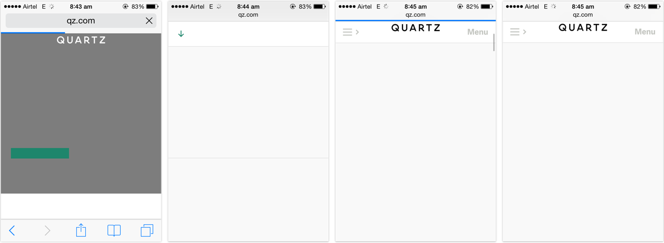 quartz home page with the base design rendered but no fonts and no readable text or headlines